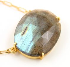 Natural Rose Cut Labradorite Handcrafted & Prong Set in Sterling Silver w/ 24k Gold Vermeil, Statement Necklace, Sold as 1 Piece (BKC/9083) by Beadspoint on Etsy