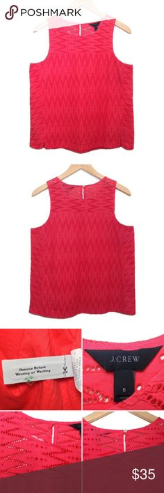 """J. Crew Seamed Shell In Zigzag Eyelet Coral Tank The """"seamed shell in zigzag eyelet"""" coral tank from J. Crew, size 8. Partially lined so no cami needed and keyhole on back with button closure. Great quality structured tank. NWOT and only flaw is a tiny mark under the keyhole that isn't noticeable imo. • Material: 100% cotton • Length: 23"""", Bust: 18"""" J. Crew Tops Tank Tops"""