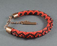 OOAK Bead crochet rope Bracelet  gift for her Seed by SzkatulkaAmi