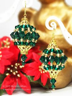 Mill Lane Studio: Twelve Days of Christmas 2015 - Day Emerald Bauble Earrings. These big bold earrings are made with Swarovski crystals and seed beads strung on ring-sized memory wire. They will leave no one in any doubt that you LOVE Christmas! Beaded Christmas Ornaments, Christmas Earrings, Diy Ornaments, Ornament Crafts, Glass Ornaments, Christmas Jewelry, Christmas Crafts, Christmas Decorations, Homemade Christmas