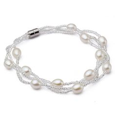 5.5-6 Mm Natural Freshwater Oval Pearl 7-Inch Bracelet W/ 18K Magnetic Clasp