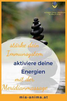 Erfahre wie du in 3 Min. täglich deine Energien aktivierst und so dein Immunsystem stärkst: Mit der MeridianSelbsstmassage in wenigen Minuten zu mehr Power und einer stabilen Gesundheit – jederzeit & überall. Und das Beste: du brauchst keine weiteren Hilfsmittel dazu. Tu dir selbst etwas Gutes!   #selbstliebe #kinesiologie #energieübung Massage, Bring It On, Immune System, Family Life, Joie De Vivre, Self Love, Tips And Tricks, First Aid, Health
