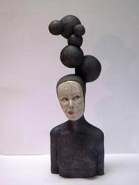 Paris Art Web - Sculpture - Melanie Bourget - Raku Ceramics Bust 956 (1)