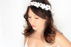 Holiday Headband red green flower Crown Christmas Winter by deLoop