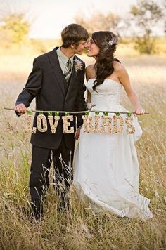 Love Birds Wedding Picture of Bride and Groom
