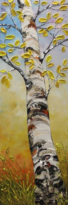 "Saatchi Art Artist Nataliya Stupak; Painting, ""Birch Tree"" #art cool textured yellow leaves."