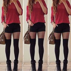 Great outfit. The black shorts with the red top goes perfect. The tights and the over the knee socks.