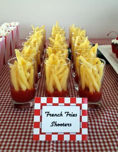8 Broadway-Inspired Treats To Serve At Your Next Party - Theatre Nerds - - 8 Broadway-Inspired Treats To Serve At Your Next Party – Theatre Nerds Diner Decorations Grease themed party snack-French Fries Shooters / Themed Party Food Idea. Diner Party, Retro Party, 1950s Theme Party, Fifties Party, 60s Theme, Brunch Party, Snacks Diy, Snacks Für Party, Party Treats