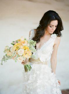 claire pettibone dress, flowerwild bouquet photographed by jose villa for magrouge