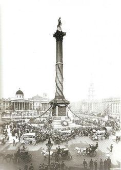 London, England: Nelson is feted on Trafalgar Day centenary Oct. Victorian London, Vintage London, Old London, Victorian Life, London History, British History, Old Pictures, Old Photos, Wales