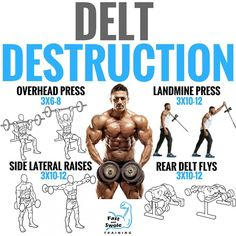 Improve the appearance and strength of your delts with science-based workout. you maximize your shoulder development with a science-based exercise attack. By adding muscle on your side delts and also your reducing waist size, deltoid de Fitness Workouts, Weight Training Workouts, Gym Workout Tips, Total Gym Workouts, Delts Workout, Preparation Physique, Gym Tips, Shoulder Workout, Bodybuilding Workouts