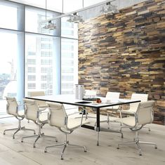 There is a charming appeal to this modern meeting space with the Reclaimed Wood Multi accent wall. Reclaimed Wood Wall Panels, Wood Panel Walls, Barn Wood, Rustic Wood, Chair Rail Molding, White Paneling, Wood Pieces, How To Antique Wood, Commercial Interiors