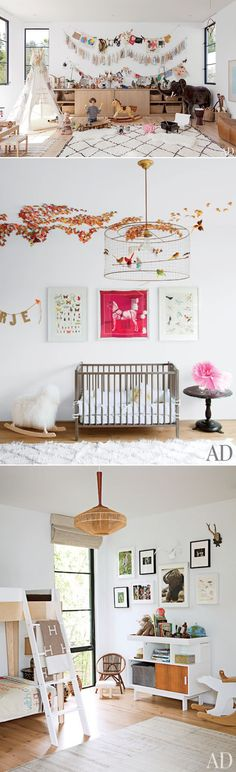 Laid-Back and Modern Nursery @Sarah Nasafi Grayce OBSESSED with the bird cage light fixture