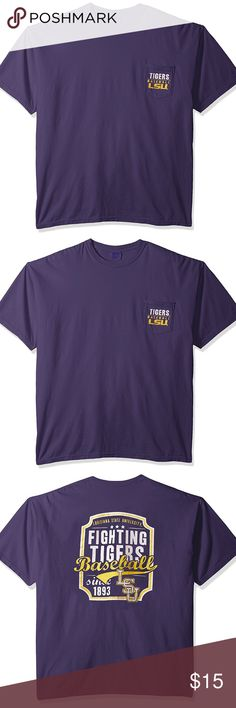 NCAA Lsu Tigers Baseball Frame Short Sleeve Pocket 100% Cotton Imported Size:XXL Officially licensed collegiate product Garment dyed ring spun 100% cotton Machine washable Unisex sizing Screen printed graphics Image One Tops Tees - Short Sleeve