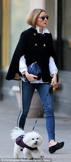 Olivia Palermo // Third time's a charm: For her final look - which she wore to walk her dog - Olivia donned a pair of tight blue jeans with a woven rope embel...