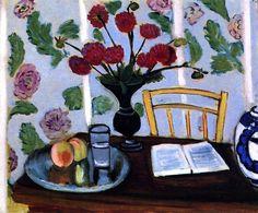Still LIfe- Bouquet of Dahlias and White Book / Henri Matisse - 1923