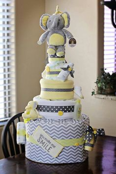 Baby Cash's diaper cake, perfect for a centerpiece at his shower!