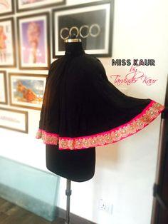 Black Shrug Cape by Miss Kaur #pink #black #hammeredSatin #HouseOfKaur