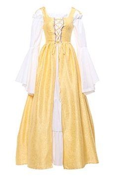 Nuoqi® Women's Retro Long Dress beer bar Waitress Serving Maid Medieval Halloween Fancy Dress (XL, GC204I). UK costumes. Women costumes. It's an Amazon affiliate link.