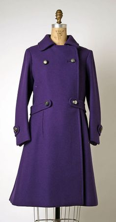 Purple wool ensemble (coat and A-line skirt) by Pierre Balmain, French, early 1960s.