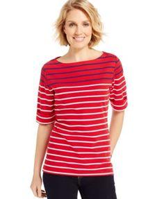 Karen Scott Striped Elbow-Sleeve Boat-Neck Top