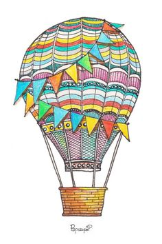 Colorful Air Balloon Instant Download by PapyAndPen on Etsy