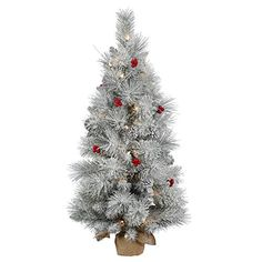 3 x 18 PreLit Frosted Mixed Berry Pine Artificial Christmas Tree with Burlap Base  Clear Lights -- Read more reviews of the product by visiting the link on the image.