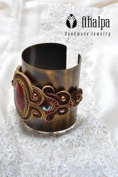 Golden Stone....combination soutache with metal bangle