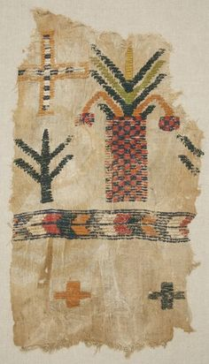 North Africa | Copts people, Egypt | Curtain Fragment | 6th to 7th century | L 83.5 cm x W 46.3 cm | Linen; wool | Plain woven; brocaded