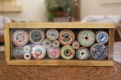 VINTAGE Antique Old WOODEN COTTON REELS - maybe use an Ikea ribba frame..