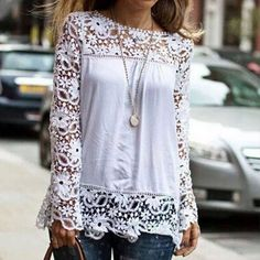Chicnico White Crochet Floral Flare Sleeve Crop Top (Aff)