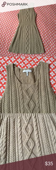 Knit Dress This adorable beige knit dress is the perfect item for your fall or winter wardrobe! The fit is snug and looks amazing with leggings and some leather booties! Sandro Dresses Midi