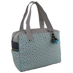 Flower of Life Retreat Bag Grey/Turquoise - Global Groove (B)