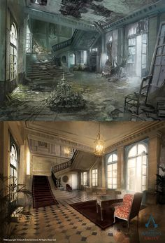 Concept of Assassin's creed Unity, le Café théâtre /// Hall upgrades… Abandoned Cities, Abandoned Mansions, Abandoned Houses, Assassins Creed Unity, Environment Concept Art, Environment Design, Café Theatre, Arte Steampunk, Post Apocalyptic Art