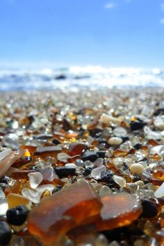 glass beach, kauai. used to be a dump and the tide washed the glass out and back in over the years.