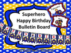 Celebrate your student& birthdays with this super cute bulletin boards. Contents: Happy Birthday Banner 12 Months of the year posters Full size posters to add name and photo of the birthday girl or boy Mini cards for names per page) Cute Bulletin Boards, Birthday Bulletin Boards, Bulletin Board Display, Birthday Board, Girl Birthday, Months In A Year, 12 Months, Student Birthdays, Class Decoration