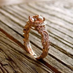 Handmade Pink Peach Morganite & Diamond Engagement Ring in 18K Rose Gold with Leafs Vine and Antiquing via Etsy