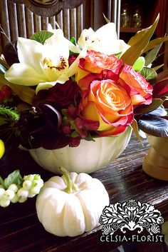 Celsia Florist: Fall Pumpkin Arrangements - Vancouver Florist - Fall / Pumpkin Floral Arrangement The Effective Pictures We Offer You About small garden A quality - Pumpkin Floral Arrangements, Fall Arrangements, Floral Centerpieces, Seasonal Decor, Fall Decor, Pumpkin Flower, Pumpkin Vase, Fall Pumpkins, White Pumpkins