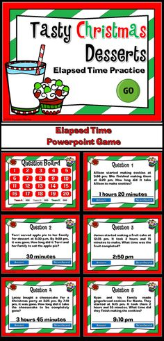 Practice elapsed time with this yummy, Christmas dessert game! In teams, students compete against one another while answering time questions. There are 3 types of questions: start time, stop/finish time, and elapsed time. Each question deals with a different type of dessert. Yummy!