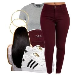 gold hoops adidas sneakers and long straight black hair oxblood\\. gold hoops adidas sneakers and long straight black hair oxblood\\. Cute Swag Outfits, Dope Outfits, Trendy Outfits, Fall Outfits, Summer Outfits, Hipster Outfits, Teenage Outfits, Teen Fashion Outfits, Outfits For Teens