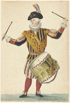 Een tamboer van de Cent Suisses, Isaac Lodewijk la Fargue van Nieuwland, 1766 Fife And Drum, Luis Xiv, War Drums, Age Of Enlightenment, Seven Years' War, 18th Century Clothing, My War, Grisaille, Armies