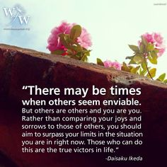 Sensei #Ikeda on comparing our lives to others & #envy..aim to surpass yourself in your current situation.. http://www.ikedaquotes.org
