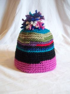 Handmade Scrappy Yarn Hat by jclairep on Etsy, $10.00