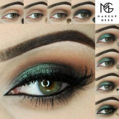 Sparkling green eye makeup. #makeup #tutorial #womentriangle