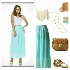 Mint / Aqua maxi skirt - Get the look Get this boho look with our mint skirt embellished with rhinestone detail at the waist. Flowy and femenine.  Www.facebook.com/lachulaboutiquesac Boutique  Skirts Maxi