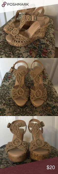 Adorable cork and macrame wedges Seriously comfy cork and macrame wedge Hot Tomato Shoes Wedges