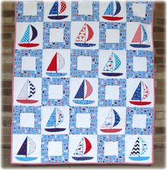 Sailboat Baby Boy Quilt Appliqué by CarleneWestberg on Etsy, $157.00