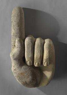 Pointing Hand By lloyds of Bedwyn. Carved Solid Limestone. English, c.1930