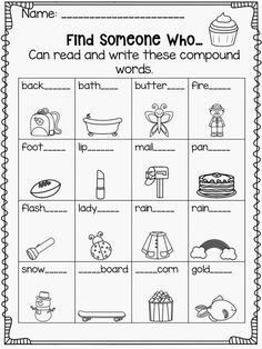 Find Someone Who...can read and write compound words. Get your students up and moving and working with each other to spell compound words!