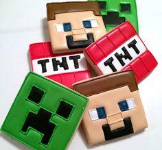 Minecraft cookies look how cute. Minecraft Cookies, Minecraft Party, Minecraft Birthday Cake, Minecraft Cake, Minecraft Crafts, Minecraft Ideas, Minecraft Skins, Cookies For Kids, Cut Out Cookies